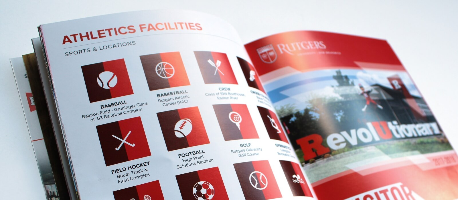 rutgers ru visitors guide athletics print design graphic